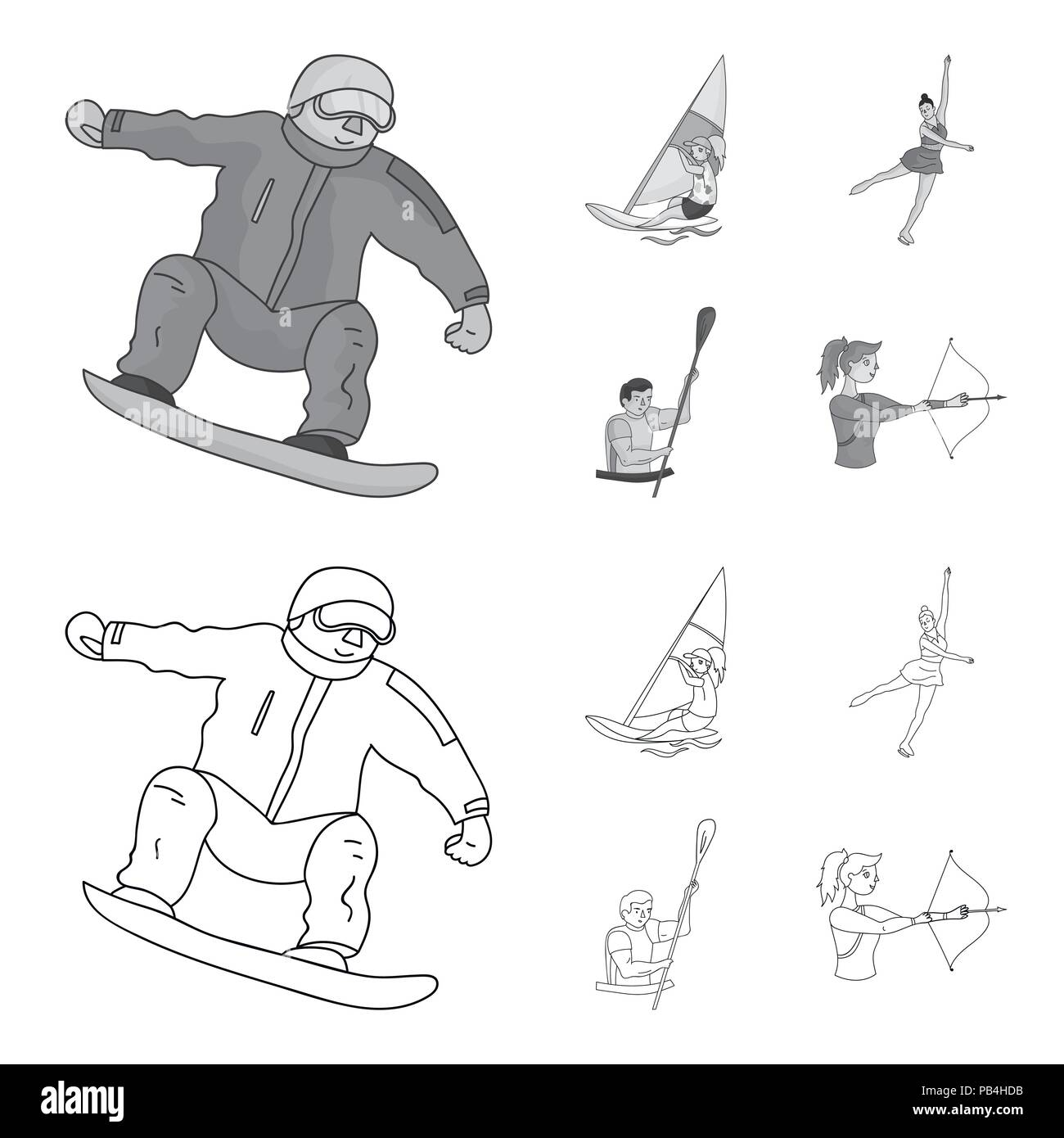 Snowboarding, sailing surfing, figure skating, kayaking. Olympic sports set collection icons in outline,monochrome style vector symbol stock illustrat - Stock Vector