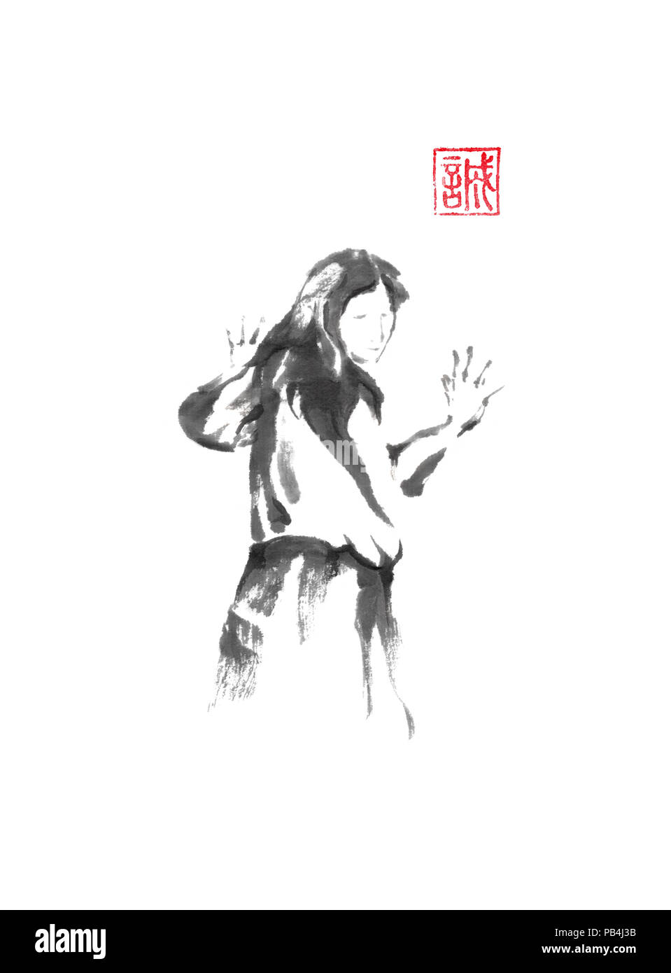 Woman Standing Against The Wall Japanese Style Original Sumi E Ink