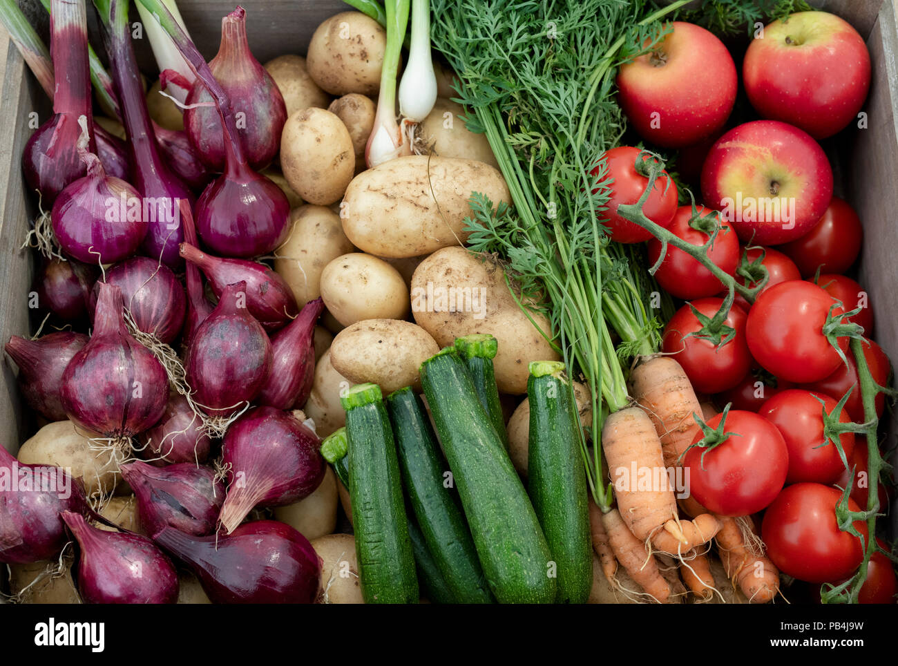 Vegetable basket display at RHS Tatton Park flower show 2018. Cheshire, UK - Stock Image