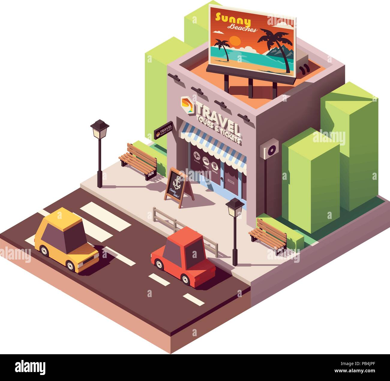 Vector isometric travel agency - Stock Vector