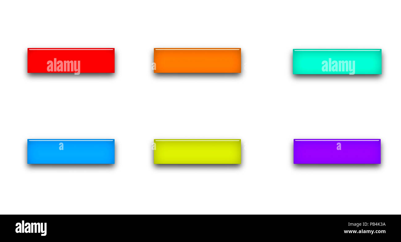 set of multicolor blank rectangle glass buttons isolated ob white