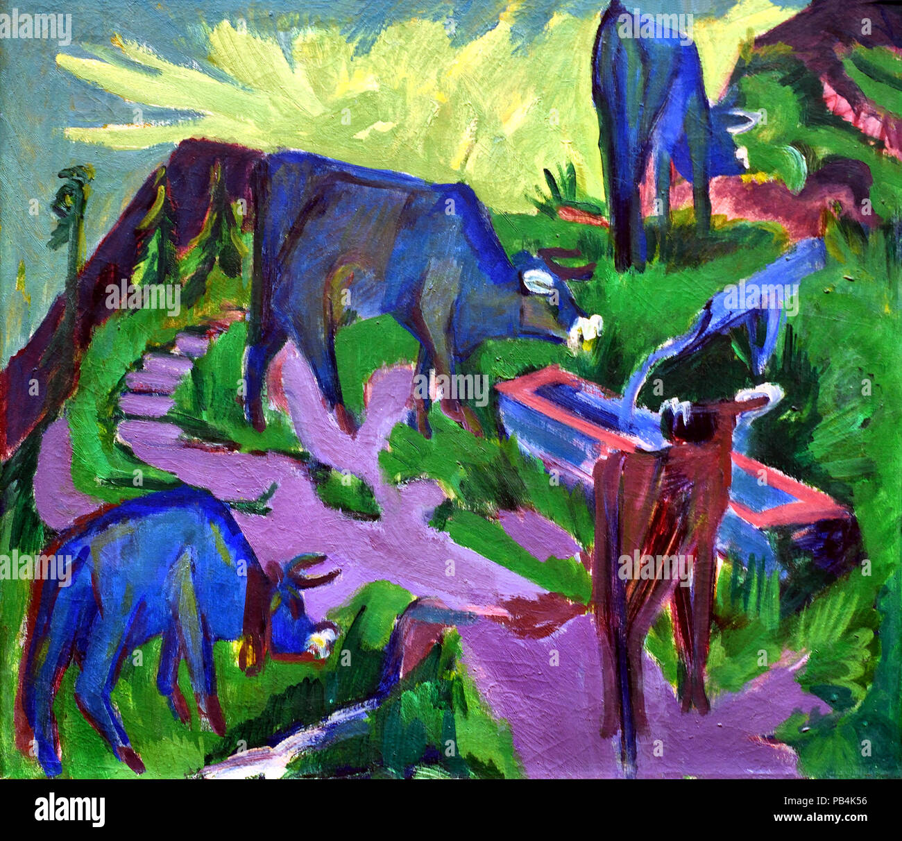 Cattle at Sunset 1918 Ernst Ludwig Kirchner 1880-1938 German Germany - Stock Image