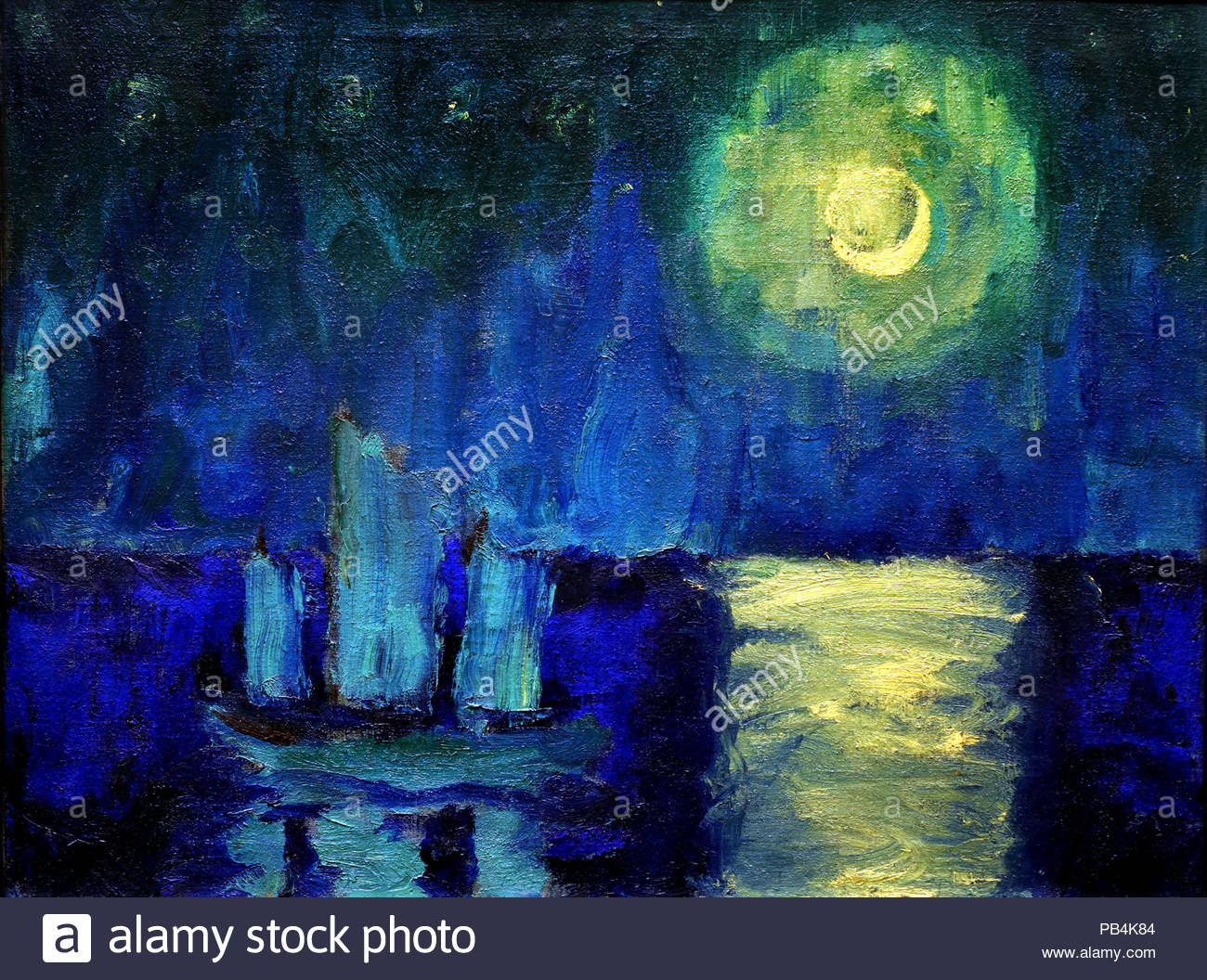Moonlit Night 1914 by Emil Nolde Danish Painter Denmark - Stock Image