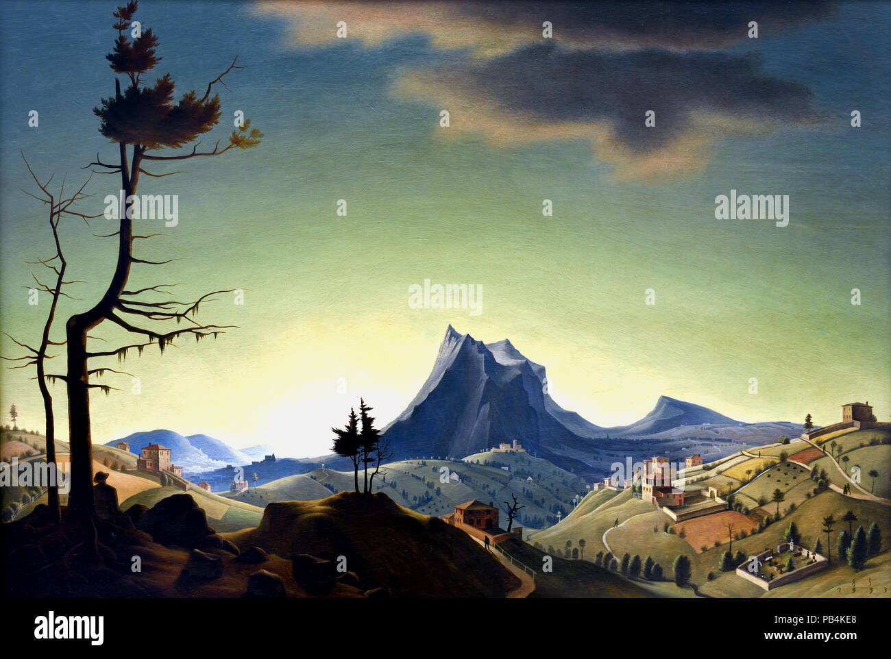 Evening Landscape 1933 Franz Sedlacek (1891–1945)  Austrian painter who belonged to the tradition known as 'New Objectivity' ('neue Sachlichkeit'), an artistic movement similar to Magical Realism. - Stock Image