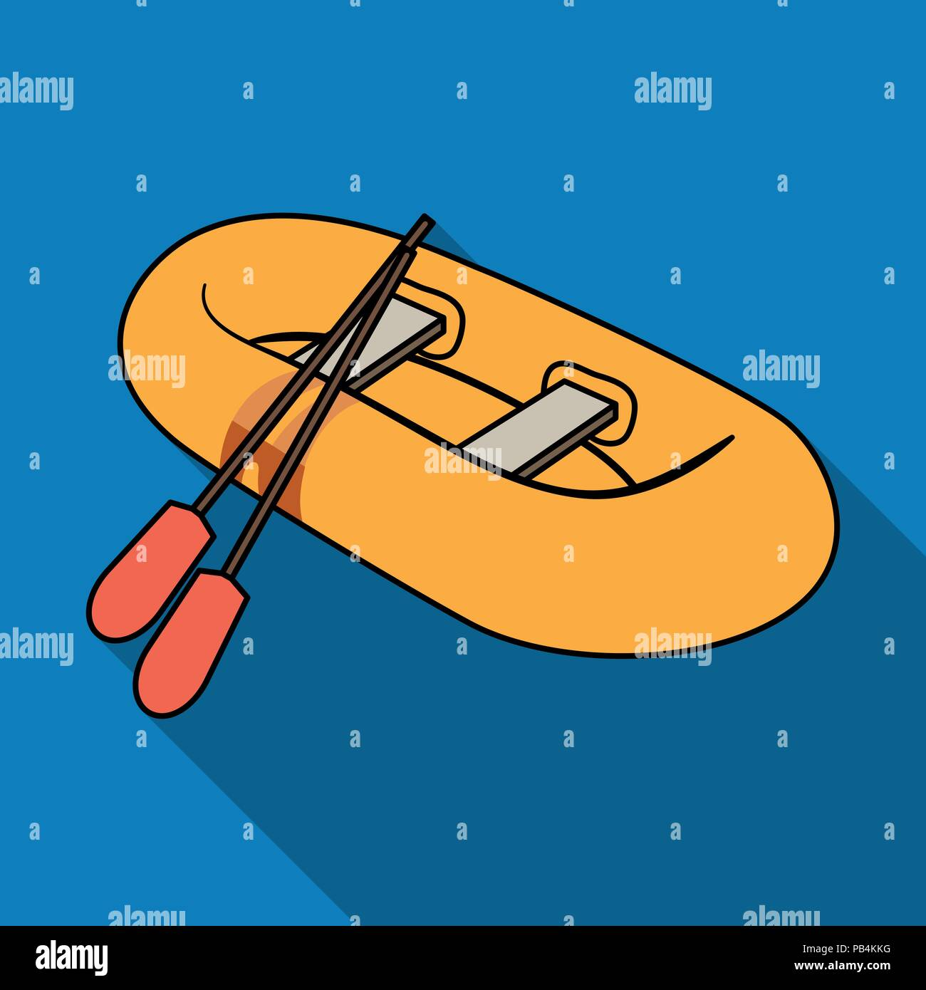 Orange rubber lifeboat.The boat, which weighs on the sides of large boats for the rescue.Ship and water transport single icon in flat style vector sym - Stock Vector