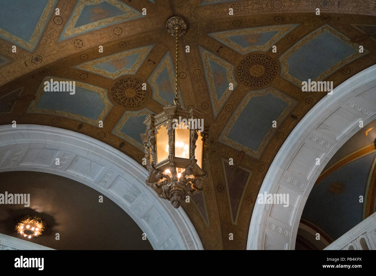 A ceiling in the Alexander Hamilton U.S. Custom House, now the National Museum of the American Indian in Lower Manhattan. The building opened in 1907. - Stock Image