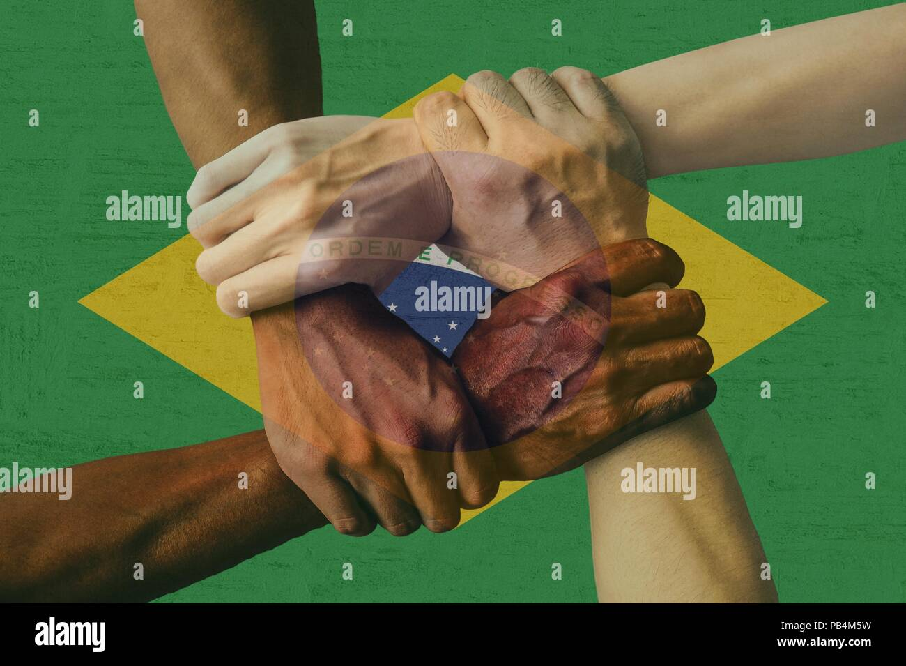 Brazil flag multicultural group of young people integration diversity isolated. - Stock Image
