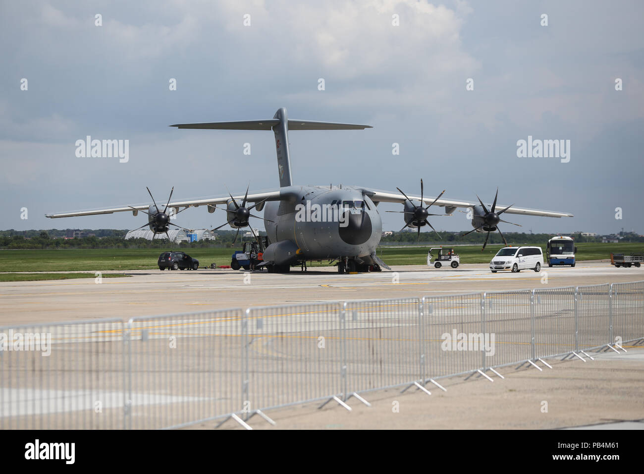 BUCHAREST, ROMANIA - July 25, 2018: Airbus A400 military cargo plane on the tracks of Baneasa International Airport - Stock Image