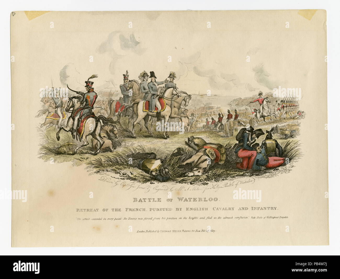 Battle of Waterloo - retreat of the French, pursued by English cavalry and infantry. - Stock Image