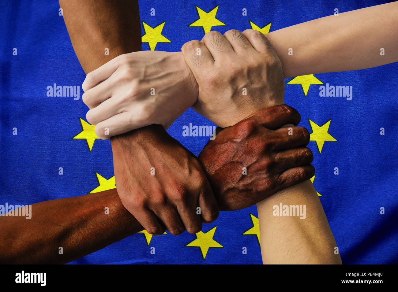 Europe flag multicultural group of young people integration diversity isolated. - Stock Image
