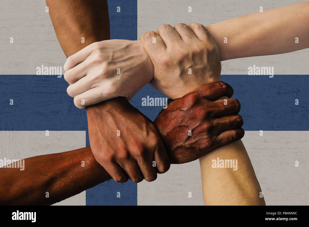 finland flag multicultural group of young people integration diversity isolated. Stock Photo