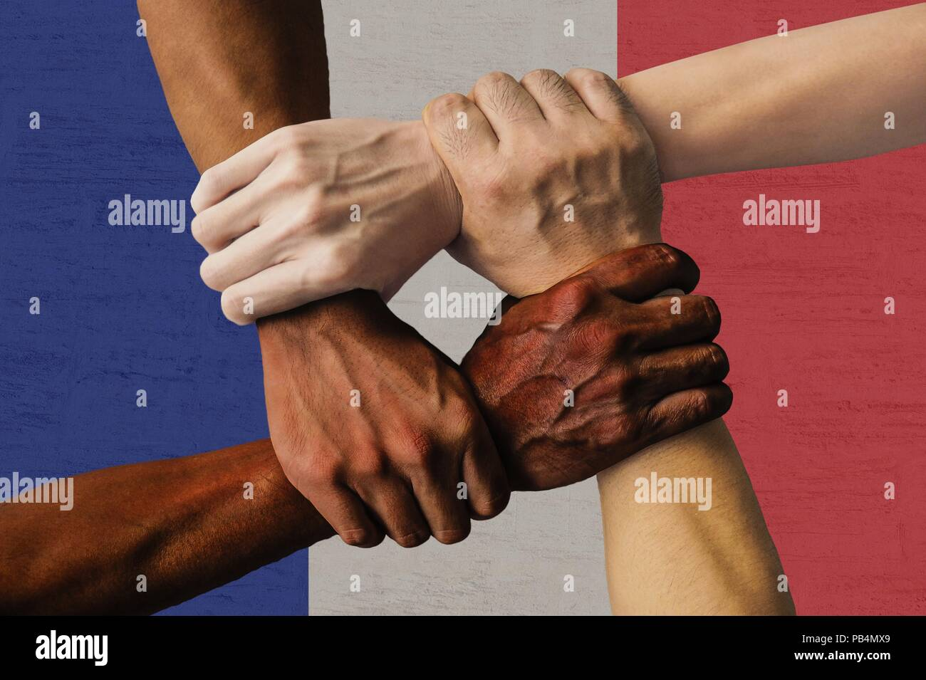France flag multicultural group of young people integration diversity isolated. - Stock Image