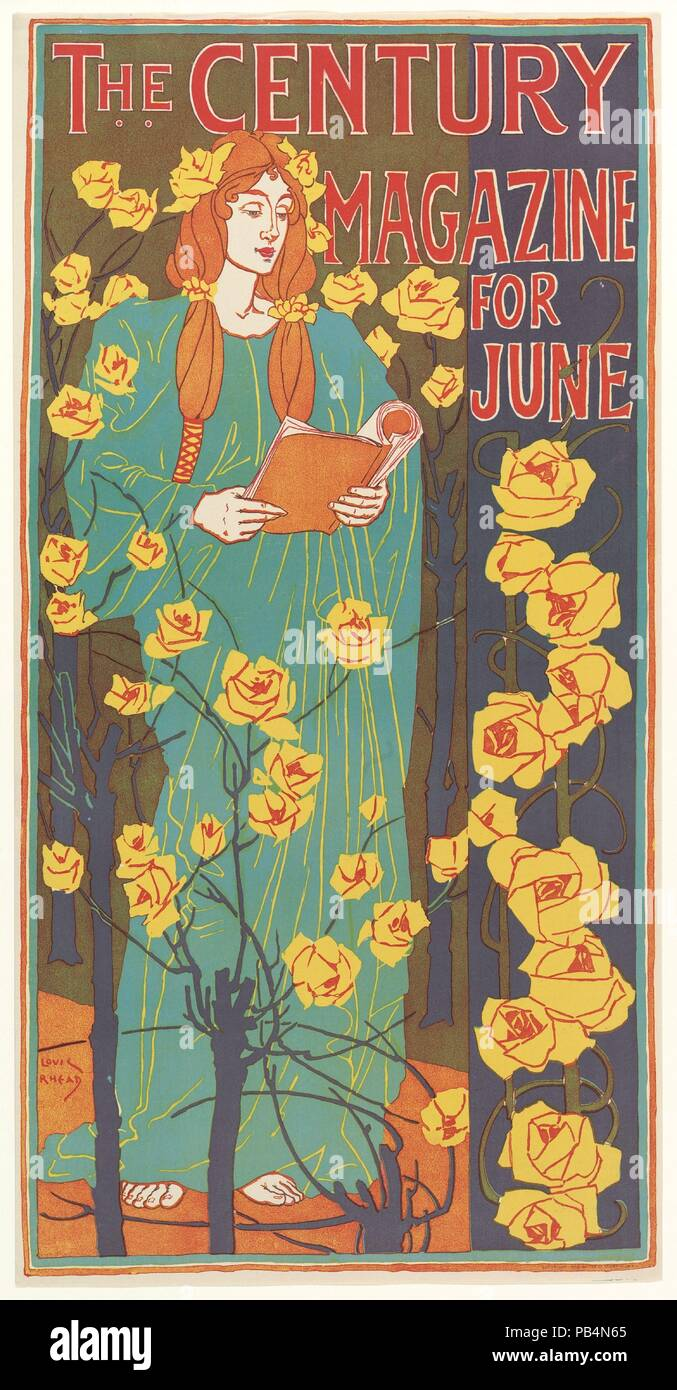 The Century Magazine: June. Artist: Louis John Rhead (American (born England), Etruria 1857-1926 Amityville, New York). Dimensions: Sheet: 21 1/8 × 10 13/16 in. (53.6 × 27.4 cm)  Image: 20 13/16 × 10 9/16 in. (52.9 × 26.8 cm). Printer: G.H. Buek & Company. Publisher: The Century Company. Date: 1896. Museum: Metropolitan Museum of Art, New York, USA. - Stock Image