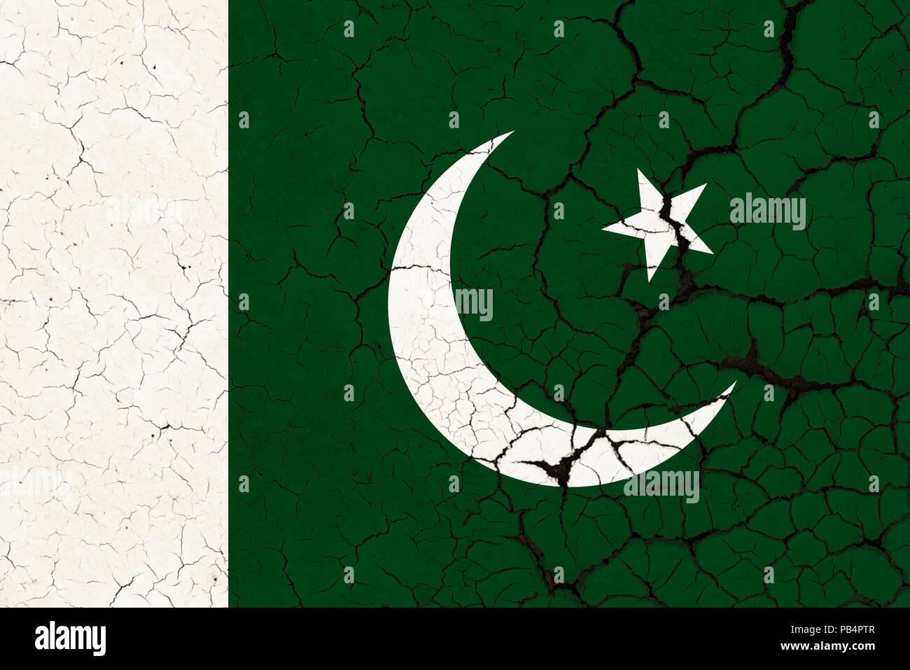 A Cracked And Fragile Pakistani Flag - Stock Image