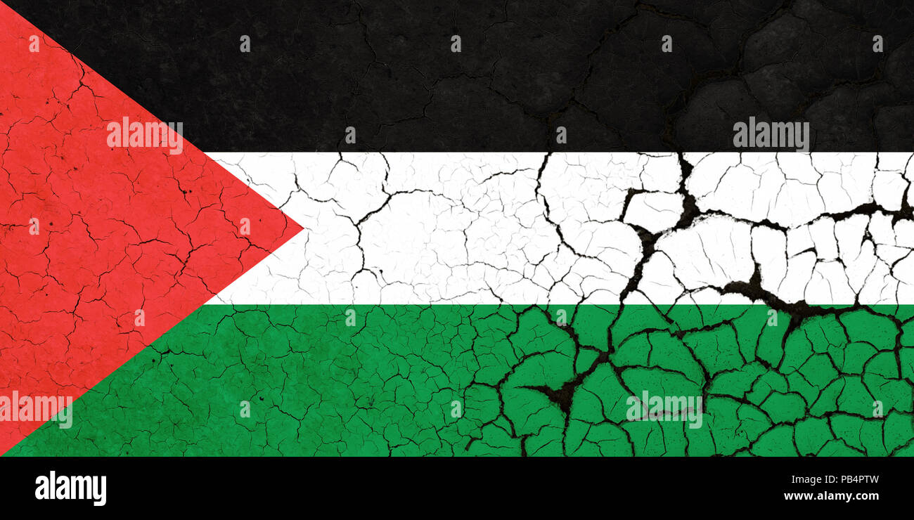 A Cracked And Fragile Palestinian Flag - Stock Image