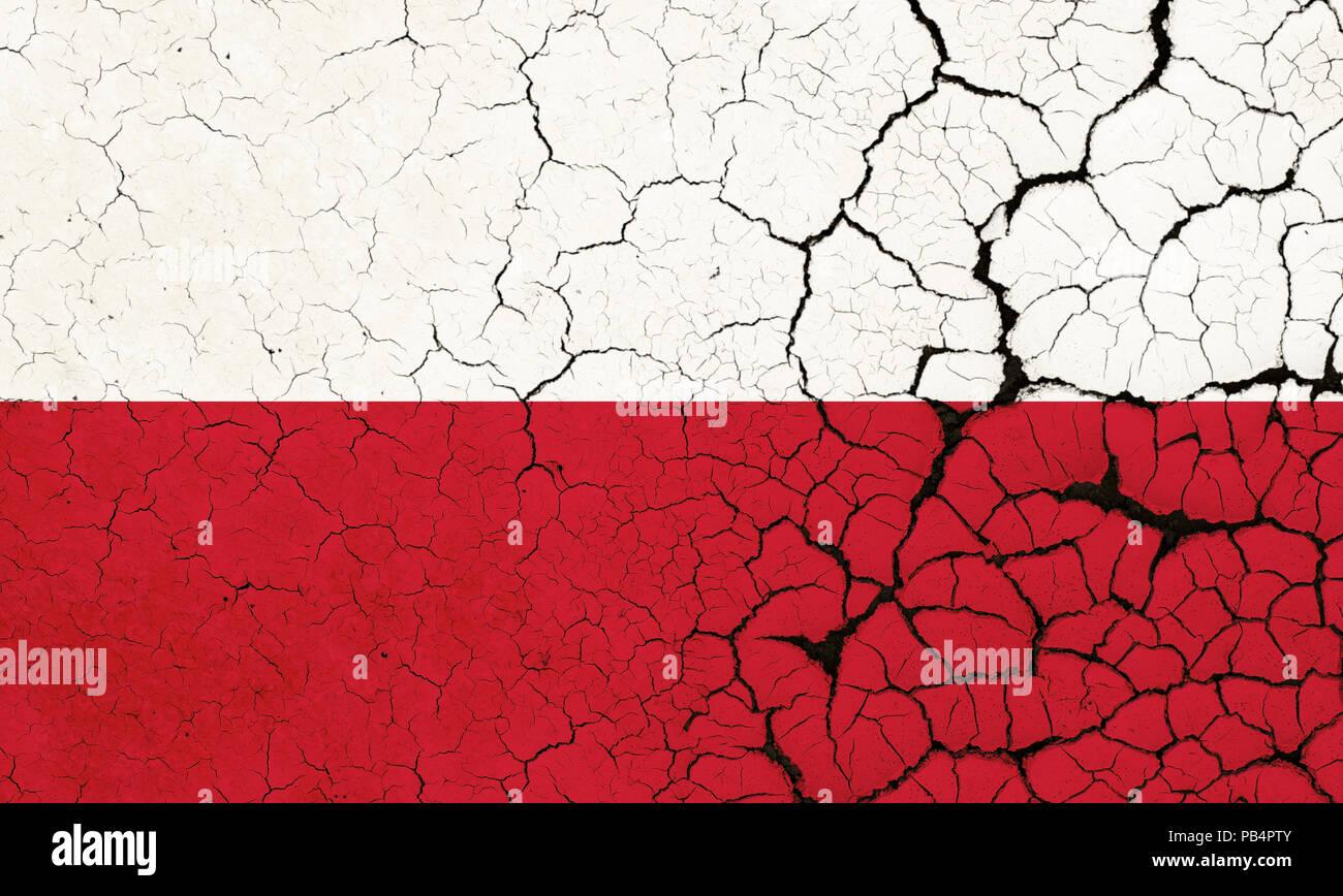 A Cracked And Fragile Polish Flag - Stock Image