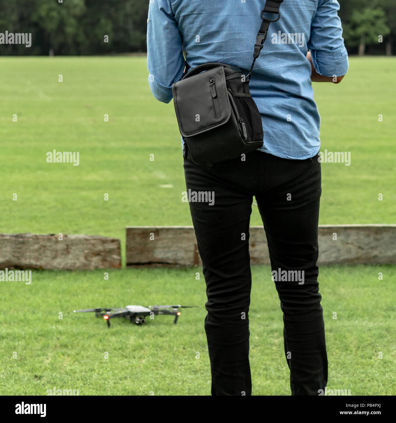Learning to fly a drone. New technologies require a learning period. Mastering skills requires patience and practice. - Stock Image