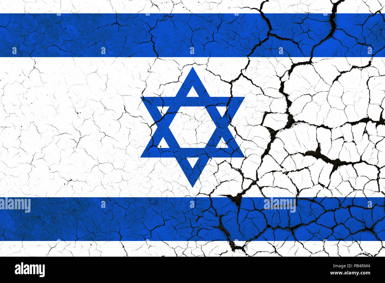 A Cracked And Fragile Israeli Flag - Stock Image