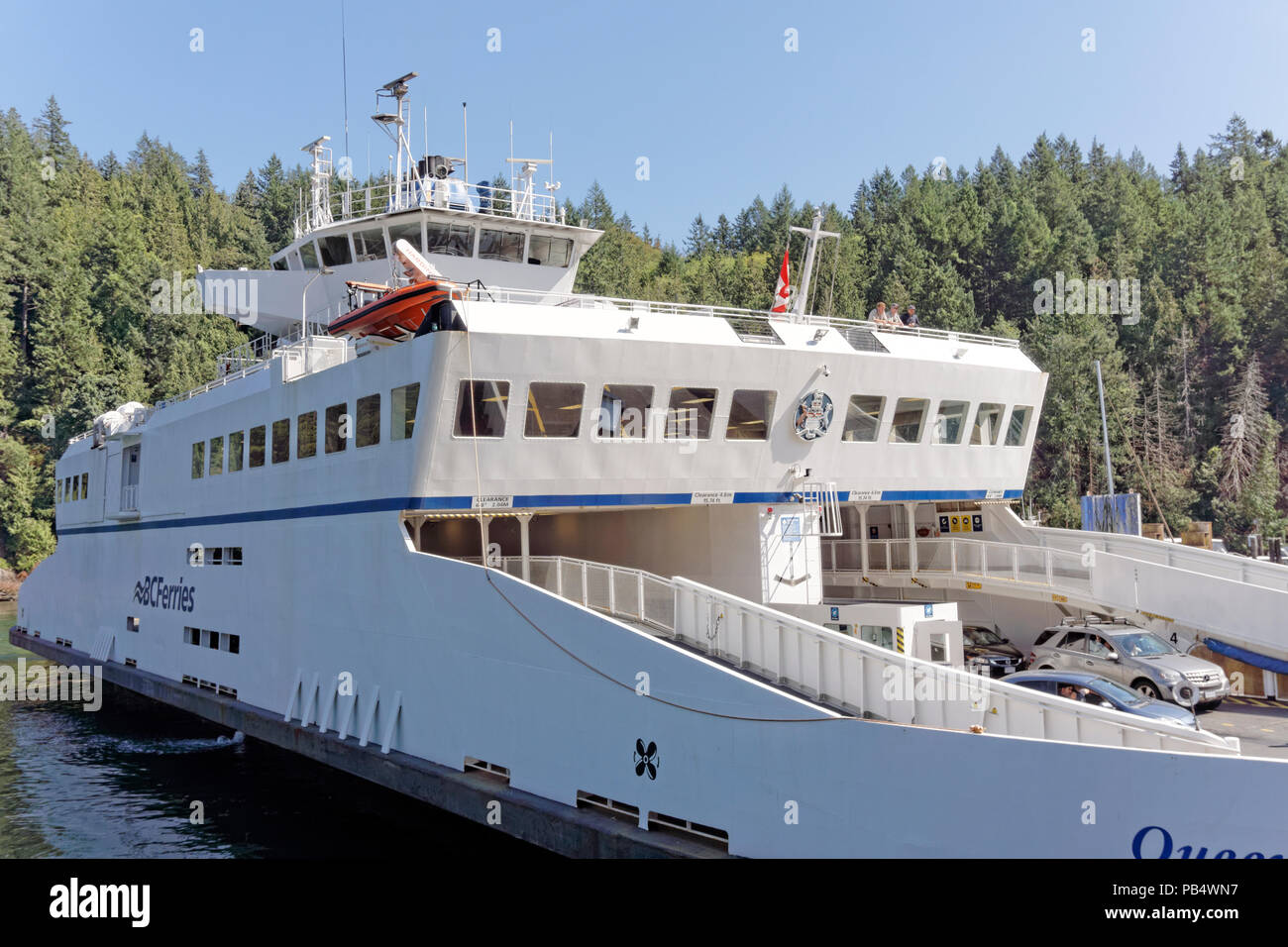 The Bowen Island ferry docked at Snug Cove on Bowen Island near Vancouver, British Columbia, Canada - Stock Image