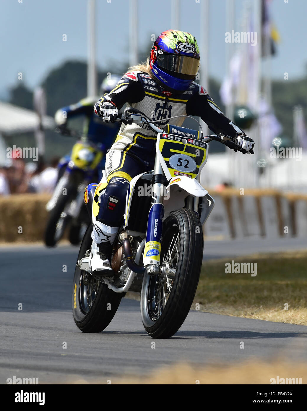Shayna Texter, Husqvarna FC450, American Flat Track, Goodwood Festival of Speed, The Silver Jubilee, Goodwood, July 2018, West Sussex, England. 2018,  - Stock Image