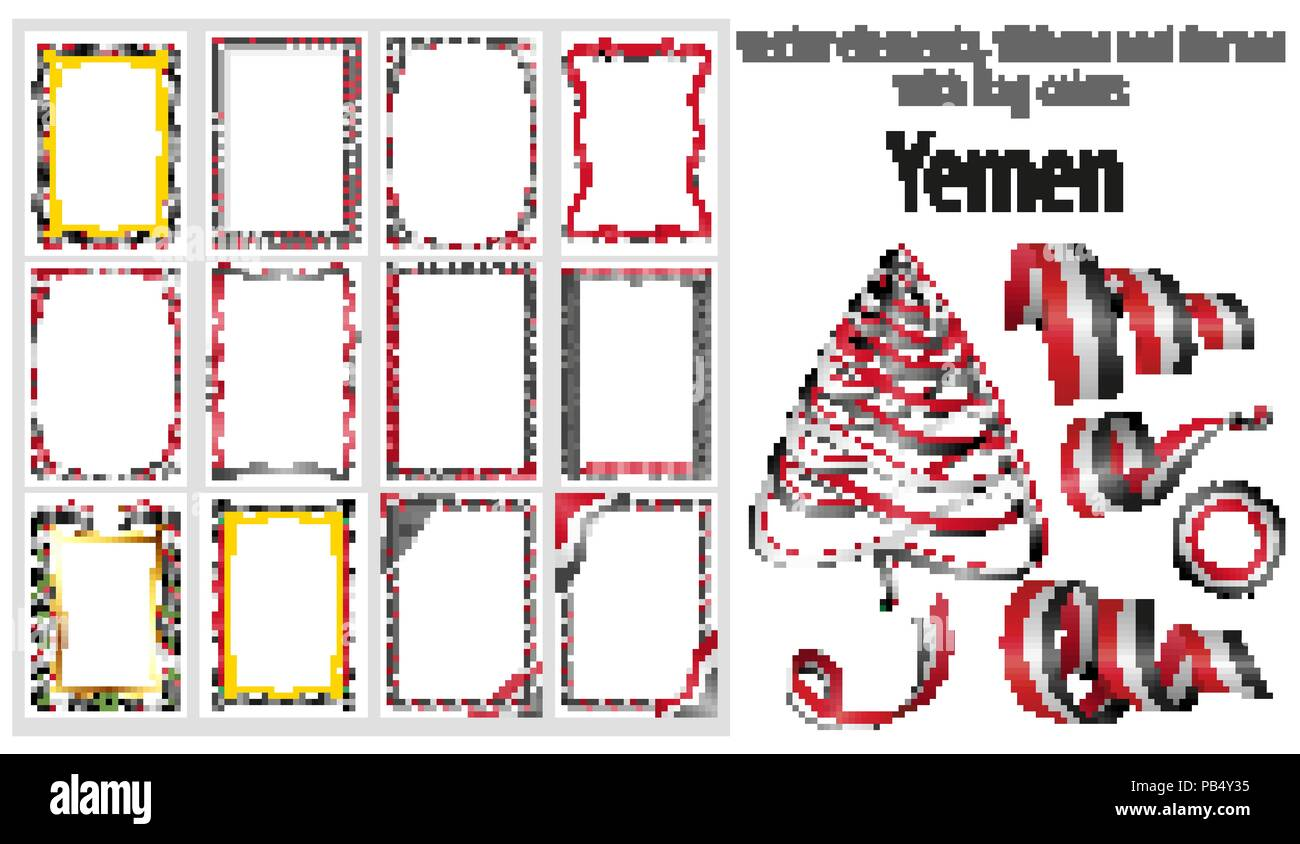 vector elements, ribbons and frames with flag colors Yemen, template for your certificate and diploma. Stock Vector