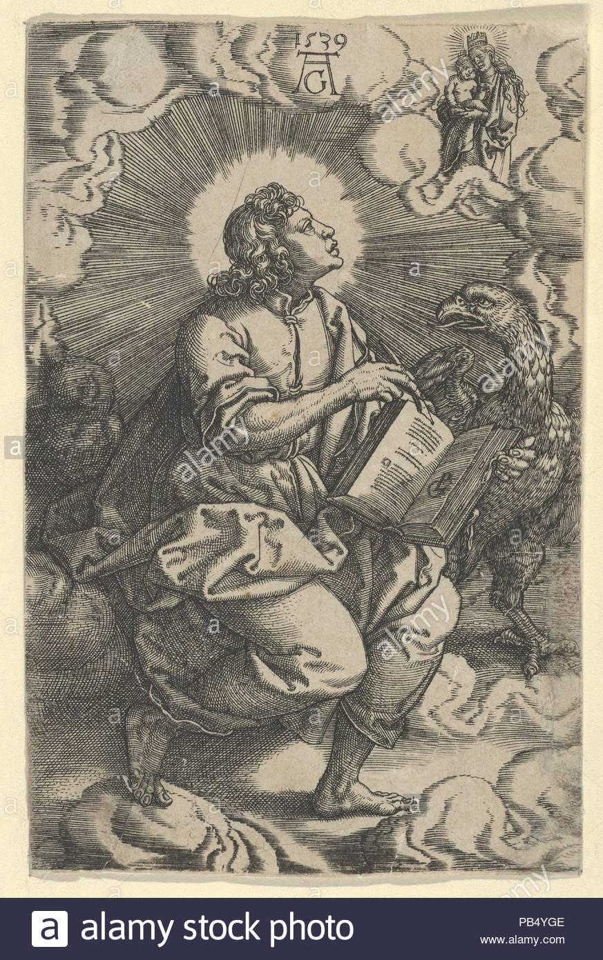 Saint John, from The Four Evangelists. Artist: Heinrich Aldegrever (German, Paderborn ca. 1502-1555/1561 Soest); after Georg Pencz (German, Wroclaw ca. 1500-1550 Leipzig). Dimensions: Sheet: 4 11/16 × 3 1/16 in. (11.9 × 7.8 cm). Date: 1539. Museum: Metropolitan Museum of Art, New York, USA. - Stock Image