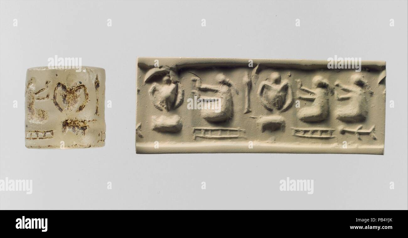 Cylinder seal and modern impression: three 'pigtailed ladies' with double-handled vessels. Dimensions: 0.79 in. (2.01 cm). Date: ca. 3300-2900 B.C..  Although engraved stones had been used as early as the seventh millennium B.C. to stamp impressions in clay, the invention in the fourth millennium B.C. of carved cylinders that could be rolled over clay allowed the development of more complex seal designs. These cylinder seals, first used in Mesopotamia, served as a mark of ownership or identification. Seals were either impressed on lumps of clay that were used to close jars, doors, and baskets, - Stock Image