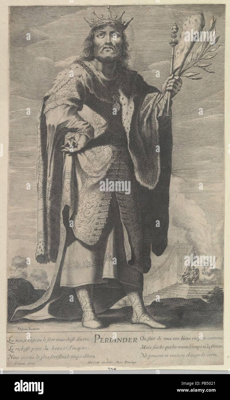 Périandre. Artist: Abraham Bosse (French, Tours 1602/1604-1676 Paris); After Claude Vignon (French, Tours 1593-1670 Paris); Jean Couvay (French, Arles ca. 1605-1663 Paris). Dimensions: sheet: 13 7/8 x 8 5/16 in. (35.2 x 21.1 cm). Publisher: Published by Pierre Mariette (French, 1596-1657). Series/Portfolio: Les Sept Sages de la Grèce. Date: ca. 1639-40. Museum: Metropolitan Museum of Art, New York, USA. - Stock Image