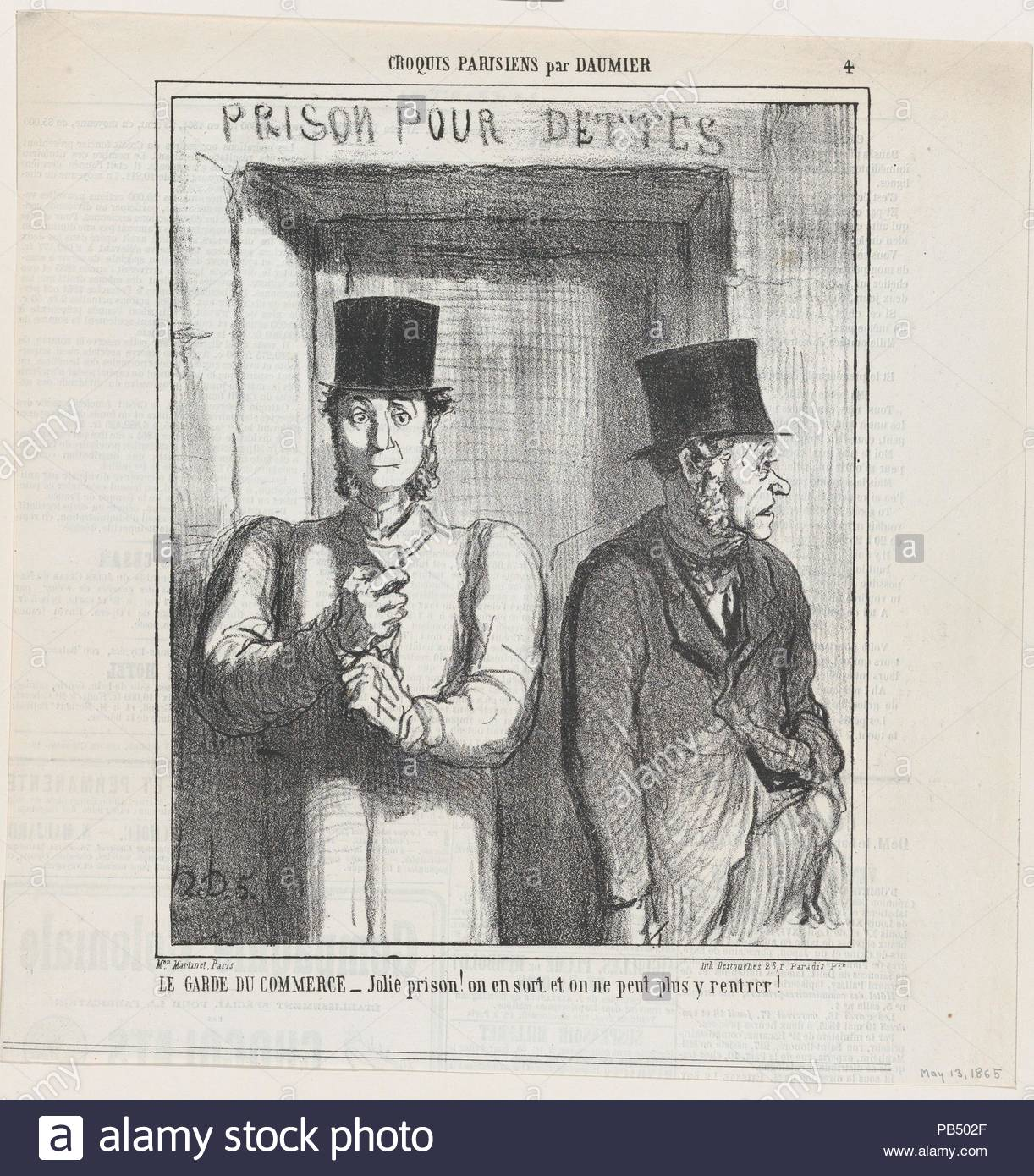 Bailiff at the commercial court, from 'Parisian Sketches,' published in Le Charivari, May 13, 1865. Artist: Honoré Daumier (French, Marseilles 1808-1879 Valmondois). Dimensions: Image: 9 9/16 × 7 3/4 in. (24.3 × 19.7 cm)  Sheet: 11 7/8 × 11 9/16 in. (30.1 × 29.4 cm). Printer: Destouches (Paris). Publisher: Aaron Martinet (French, 1762-1841). Series/Portfolio: 'Parisian sketches' (Croquis Parisiens). Date: May 13, 1865.  - Nice prison! Once you are out, there is no way to get back in again!. Museum: Metropolitan Museum of Art, New York, USA. - Stock Image