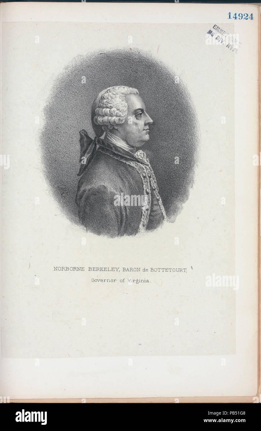 1112 Norborne Berkeley, Baron de Bottetourt (sic), Governor of Virginia (NYPL Hades-256600-EM14924) Stock Photo