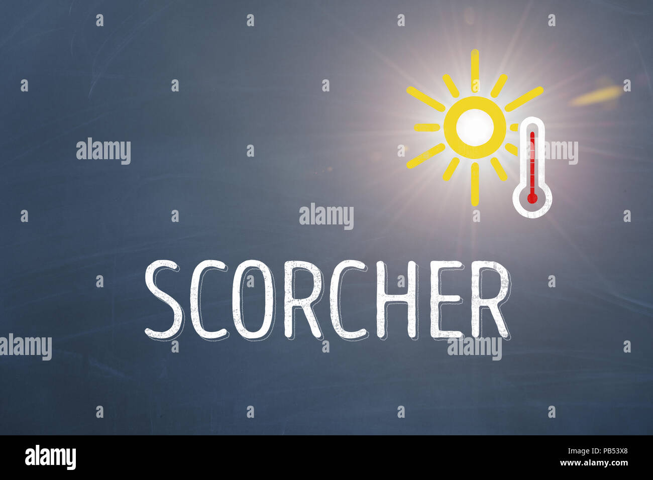 Extreme heat wave or scorcher with sun and thermometer during the summer of the century 2018 with blue background as template - Stock Image