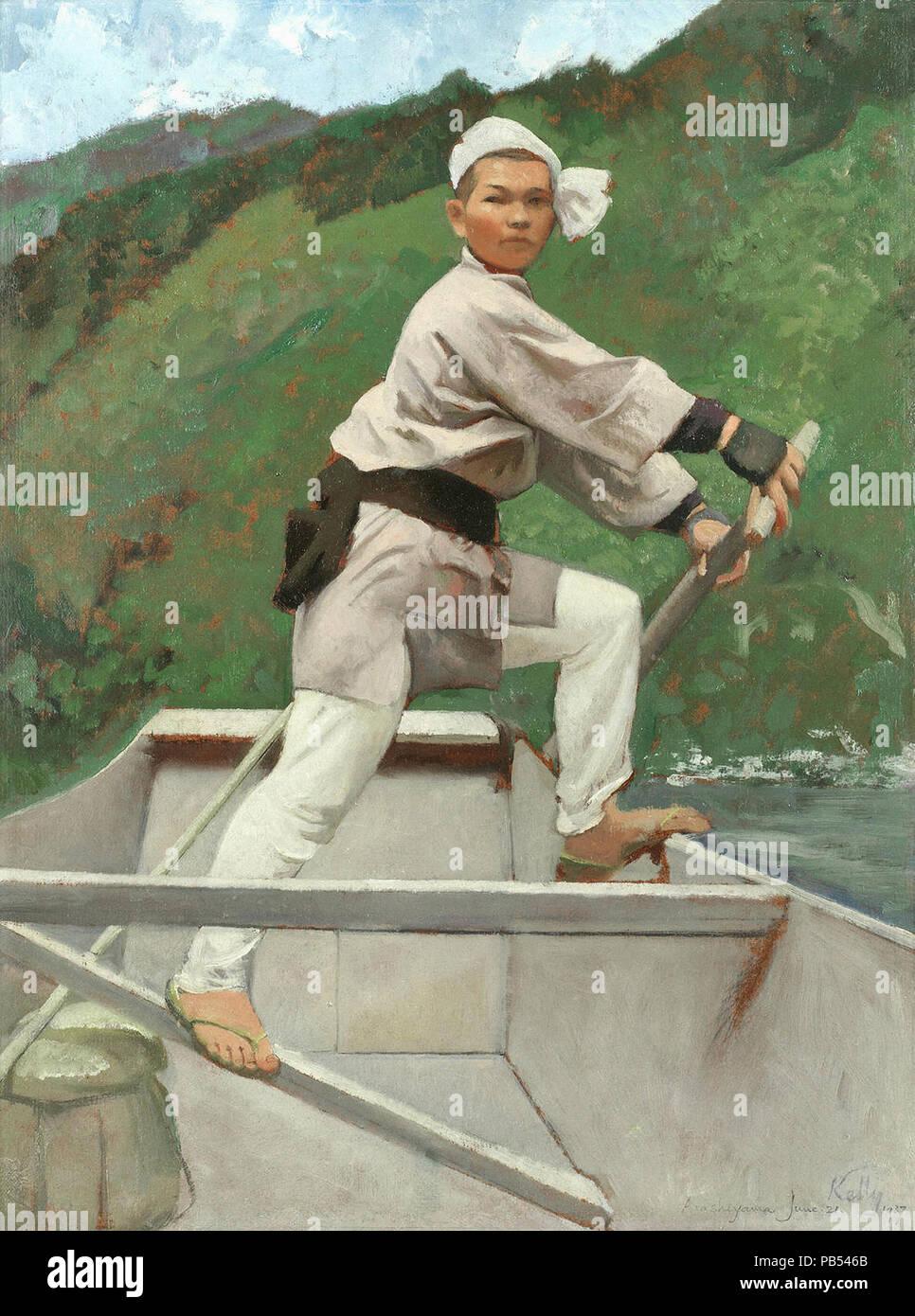 Kelly  Gerald Festus - Steersman on the Hozu Rapids  Japan - Stock Image