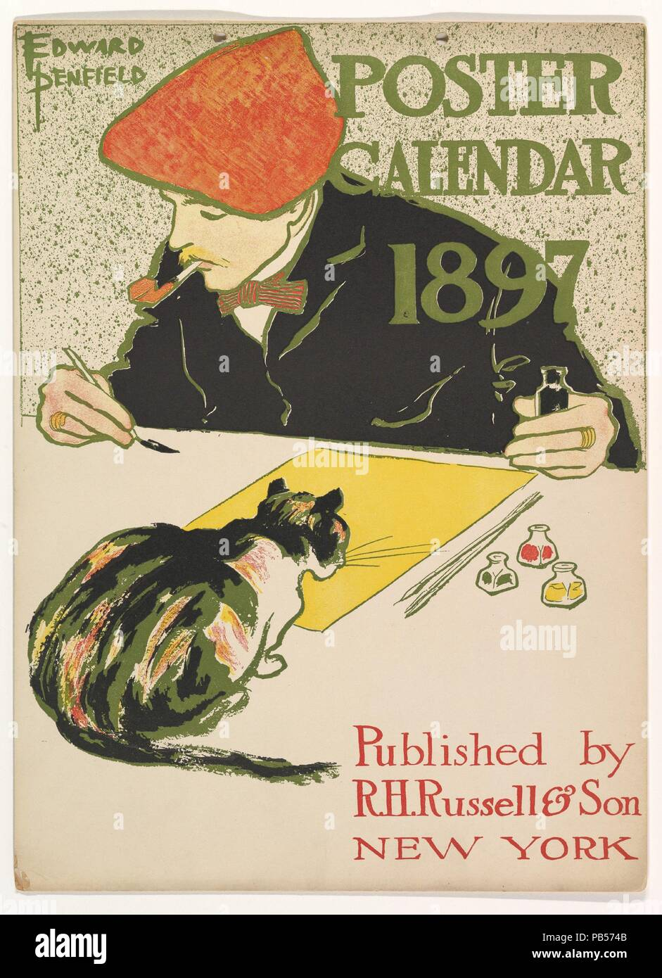 Cover for 1897 Calendar. Artist: Edward Penfield (American, Brooklyn, New York 1866-1925 Beacon, New York). Dimensions: 14 x 10 3/16 in.. Publisher: R. H. Russell (American, New York). Date: 1896. Museum: Metropolitan Museum of Art, New York, USA. - Stock Image