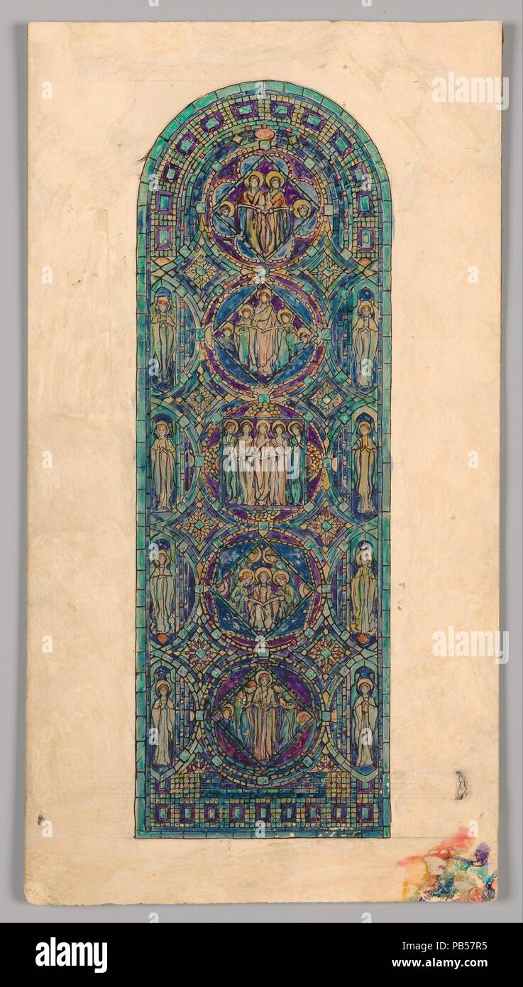 Design for 'Angels of Praise' window. Artist: Louis Comfort Tiffany (American, New York 1848-1933 New York). Culture: American. Dimensions: Overall: 21 5/8 x 11 1/16 in. (54.9 x 28.1 cm)  Design: 17 13/16 x 5 15/16 in. (45.2 x 15.1 cm). Maker: Possibly Tiffany Glass and Decorating Company (American, 1892-1902); Possibly Tiffany Glass Company (1885-92). Date: late 19th-early 20th century. Museum: Metropolitan Museum of Art, New York, USA. - Stock Image