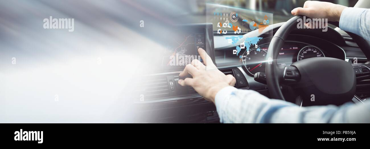 Man driving in car with heads up display interface and transition - Stock Image