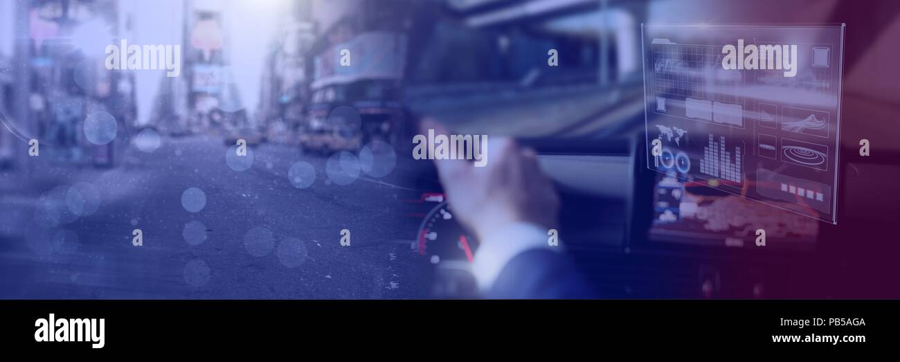 Man driving in car with heads up display interface and city transition - Stock Image