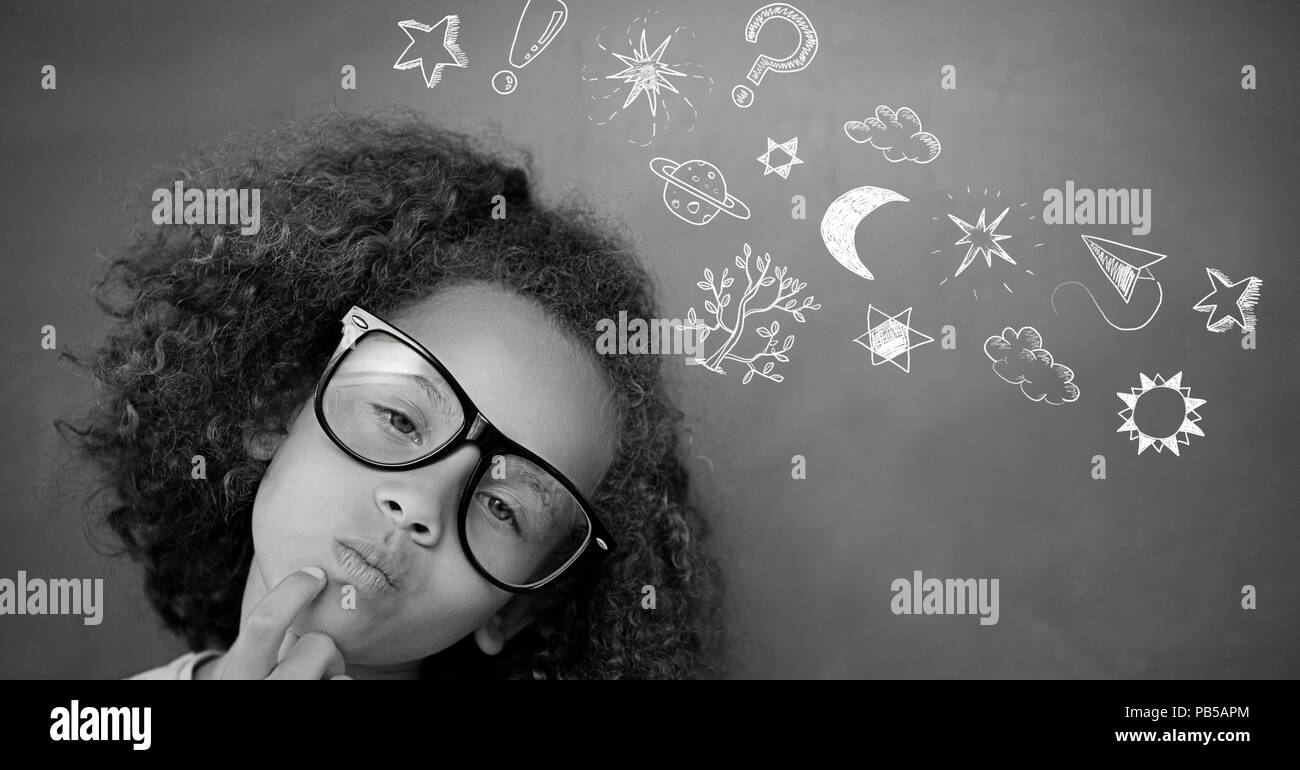 9aaacd81a4ea1 School girl and Education drawing on blackboard for school - Stock Image