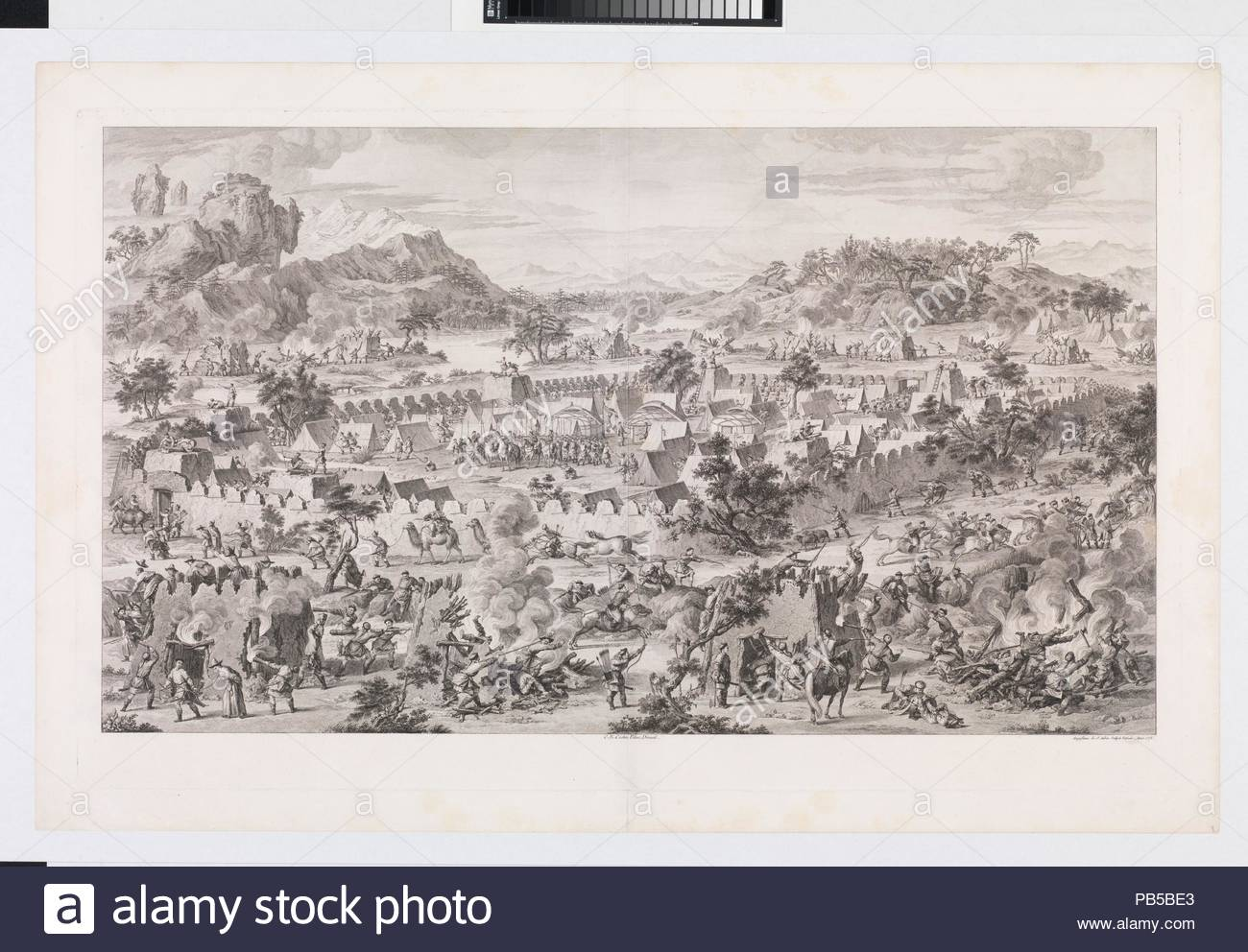 The Battle of Tonguzluq. Artist: Augustin de Saint-Aubin (French, Paris 1736-1807 Paris); after Giuseppe Castiglione (Italian, Milan 1688-1766 Beijing); (direxit) Charles Nicolas Cochin II (French, Paris 1715-1790 Paris). Dimensions: Sheet: 39 5/8 × 25 13/16 in. (100.7 × 65.5 cm)  Plate: 37 × 22 3/4 in. (94 × 57.8 cm). Series/Portfolio: The Conquests of the Emperor of China  (Les Conquêtes de l'Empereur de la Chine). Date: 1773.  This print depicts the 1758 Battle of Tonguzluq with Qing soldiers firing cannons and using guns and arrows to attack the enemy within a fortified encampement filled  - Stock Image