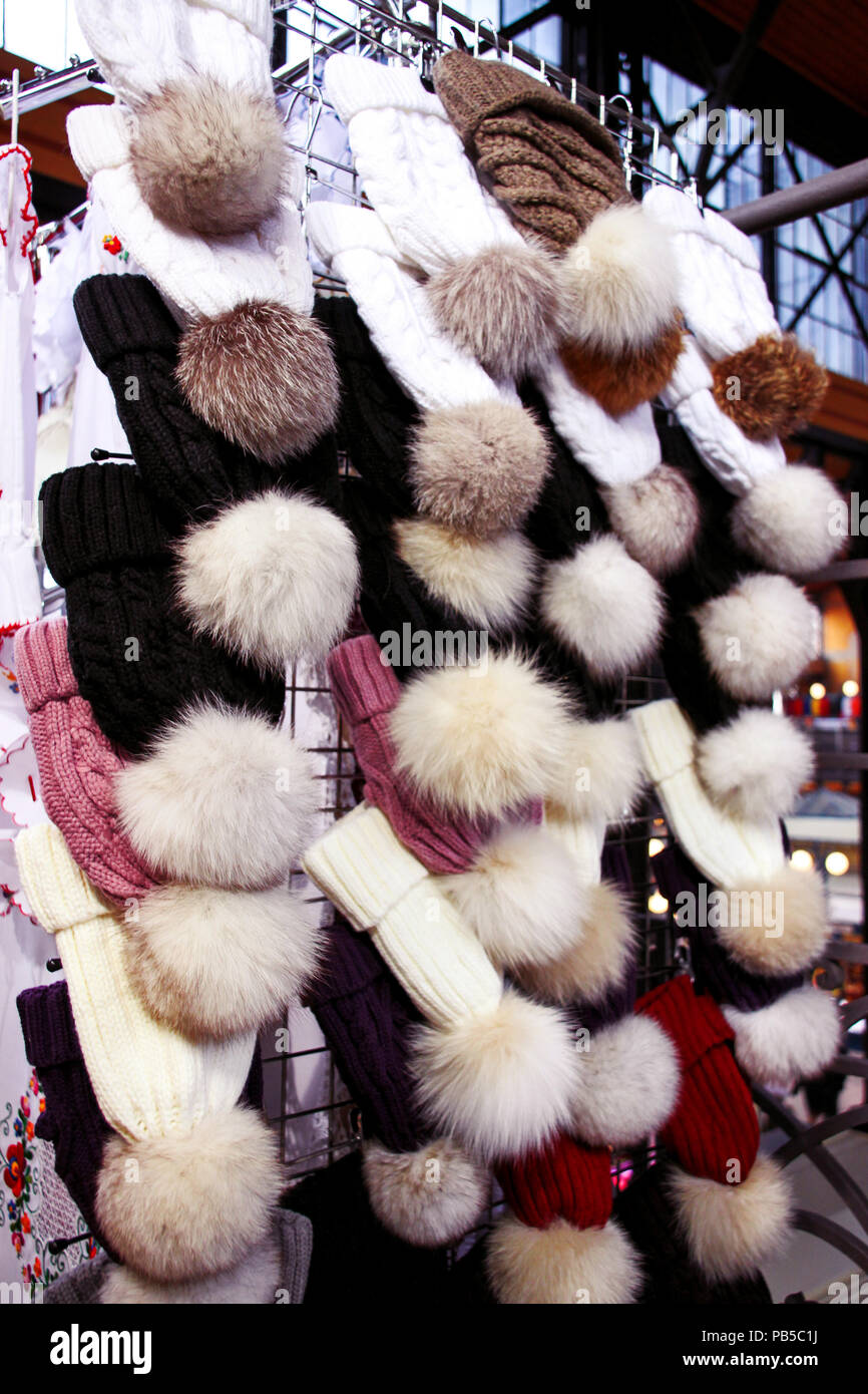 Winter hats at a market in Budapest - Stock Image