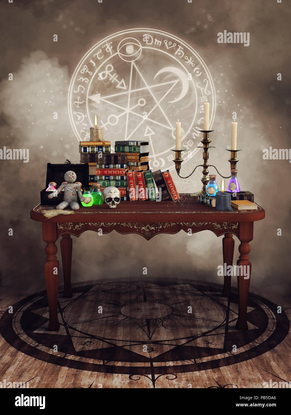 Fantasy Table With Magic Books Potions Voodoo Doll Candles And