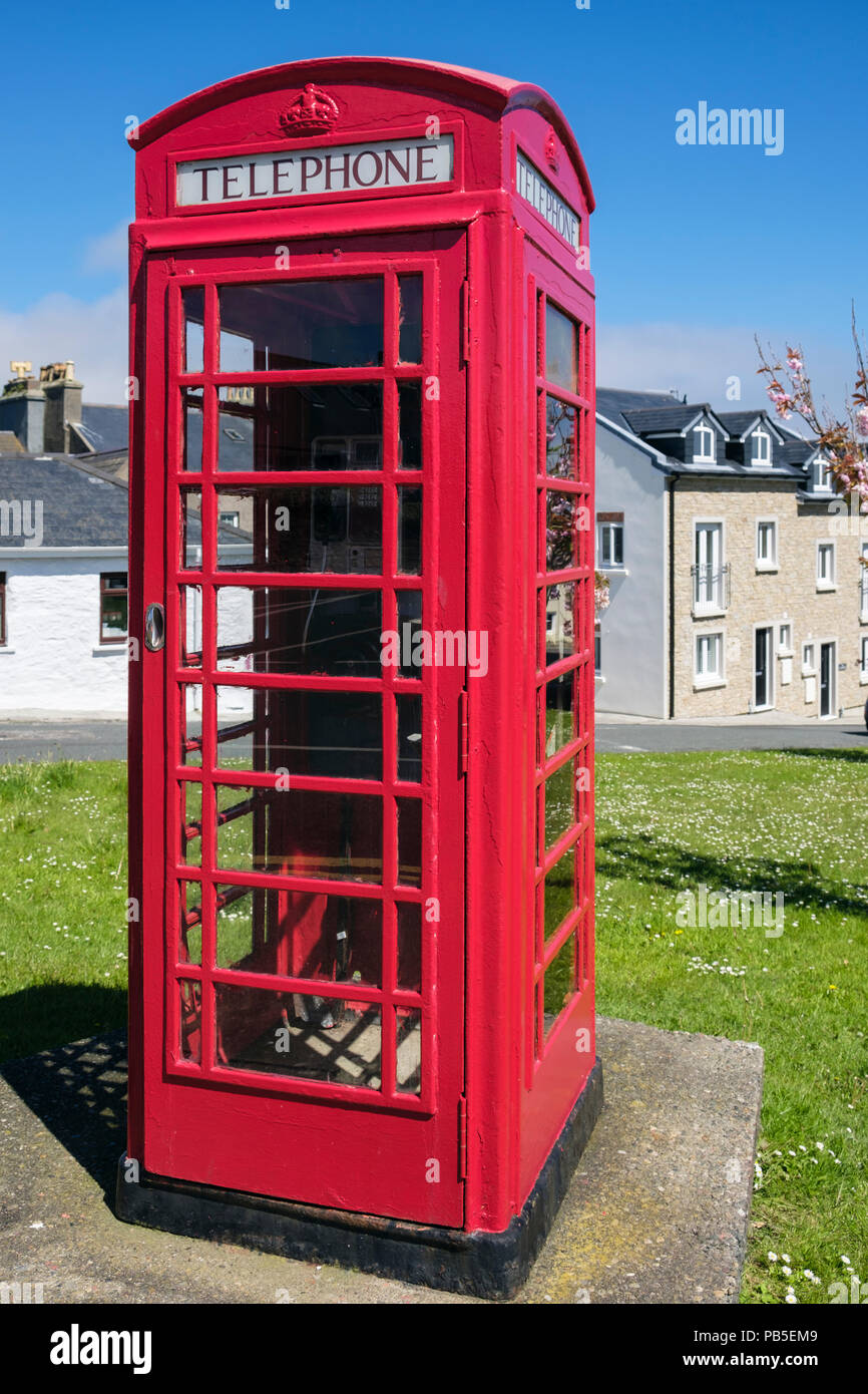 Traditional British K6 red telephone box still in use in Port St Mary, Isle of Man, British Isles, Europe - Stock Image