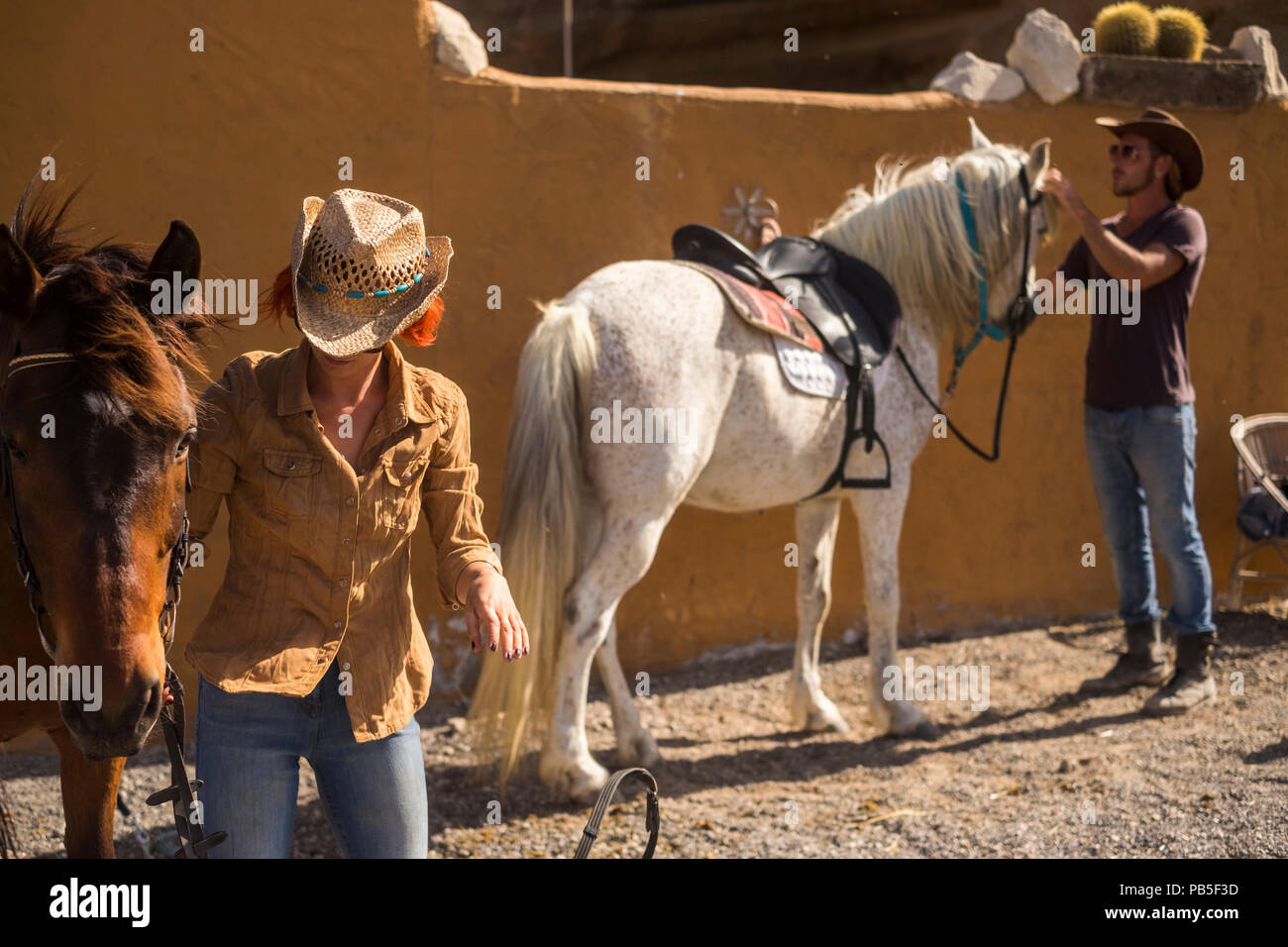 couple in countryside prepare horses to go outdoor traveling and discover new plces in excursion. ntaural outdoor lifestyle for happiness and pet ther Stock Photo