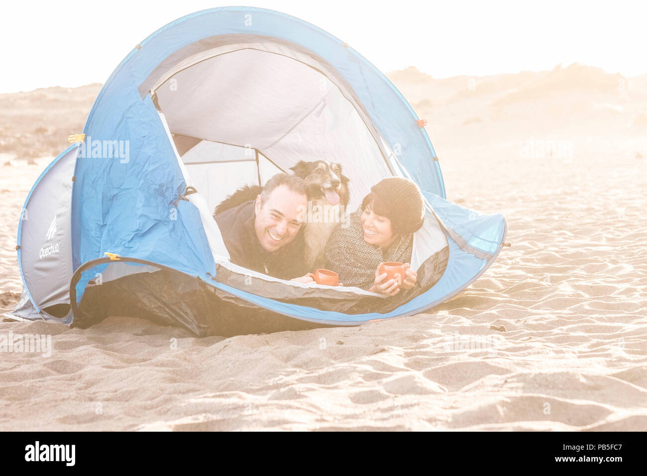 couple looking at the smart phone and have fun inside a tent in free camping on the beach Dog border collie behind them looking at the camera. vintage - Stock Image