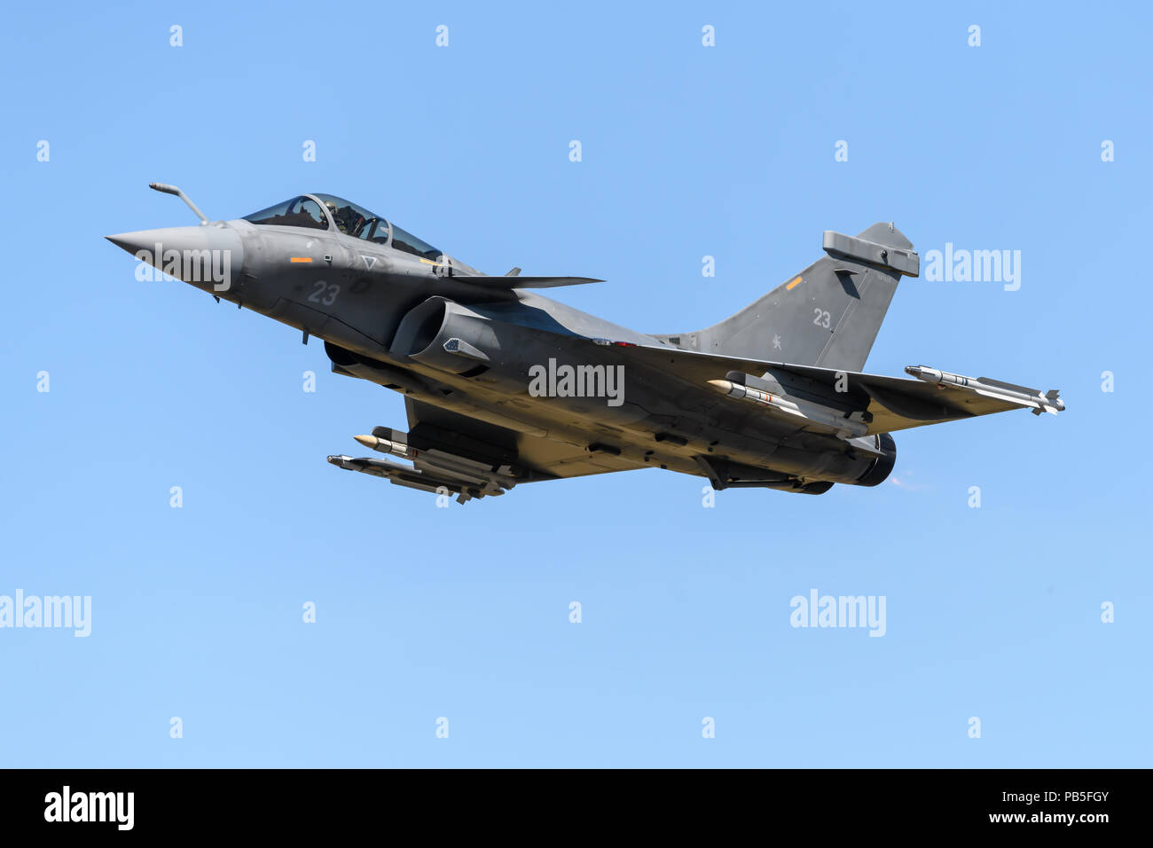 French Rafale fighter jet displaying at the Royal International Air Tattoo in July 2018 Stock Photo