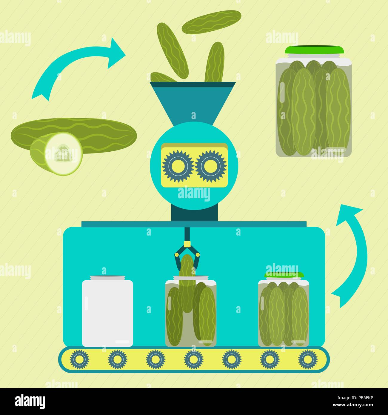 Pickles series production. Fresh cucumber being processed. Bottled pickled cucumber. - Stock Vector