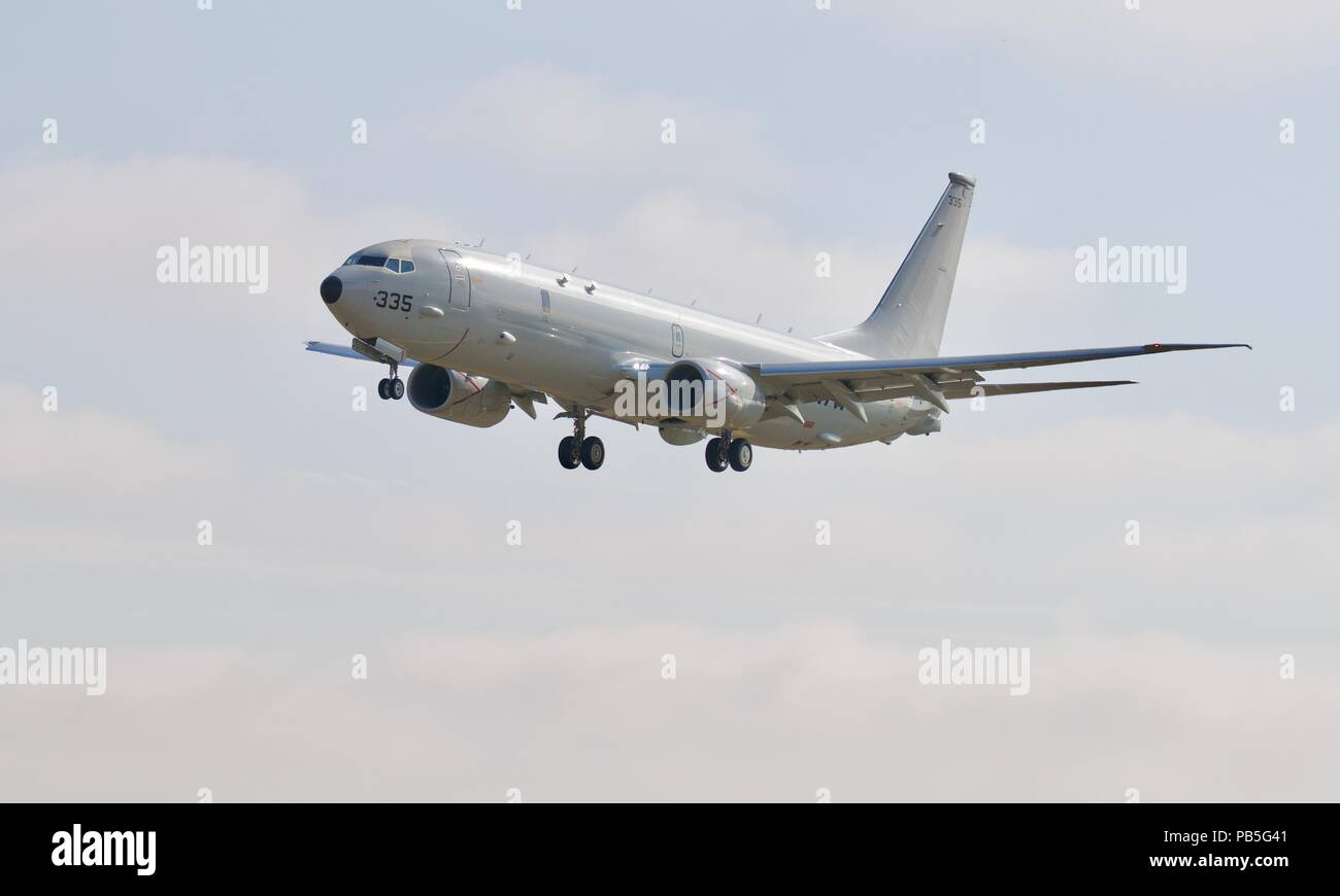 U.S Navy Boeing P-8A Poseidon with it's undercarriage down approaching RAF Fairford for the 2018 Royal International Air Tattoo Stock Photo