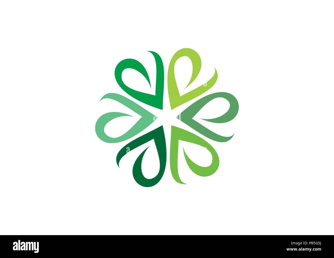 Circle Green Leaves Logo Ecological Herb Botany Symbol Natural