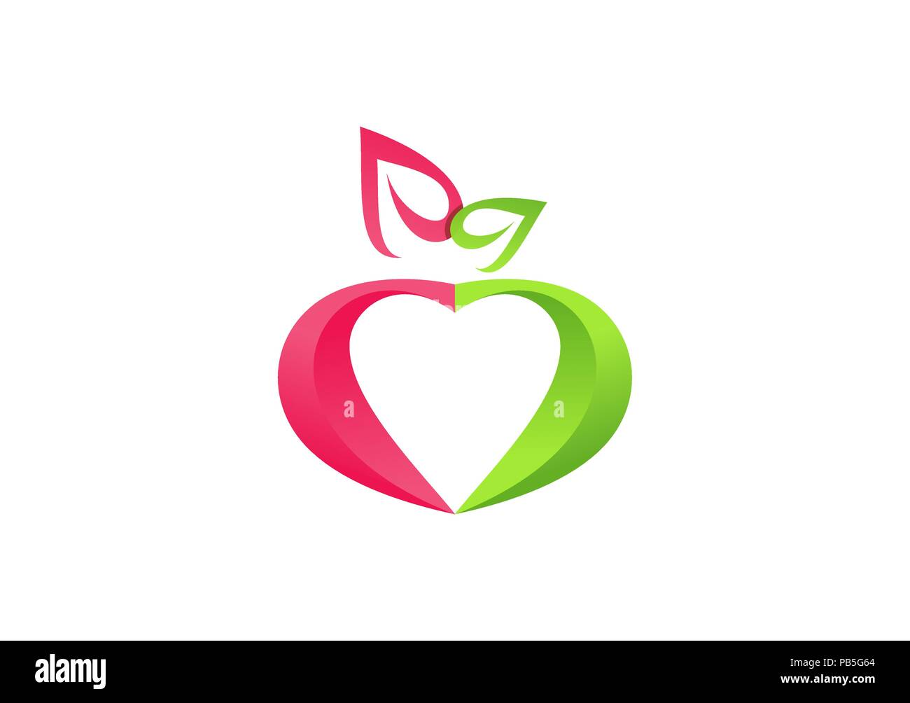 Fresh Fruit Healthy Heart Logo Wellness Health Apple Heart Symbol