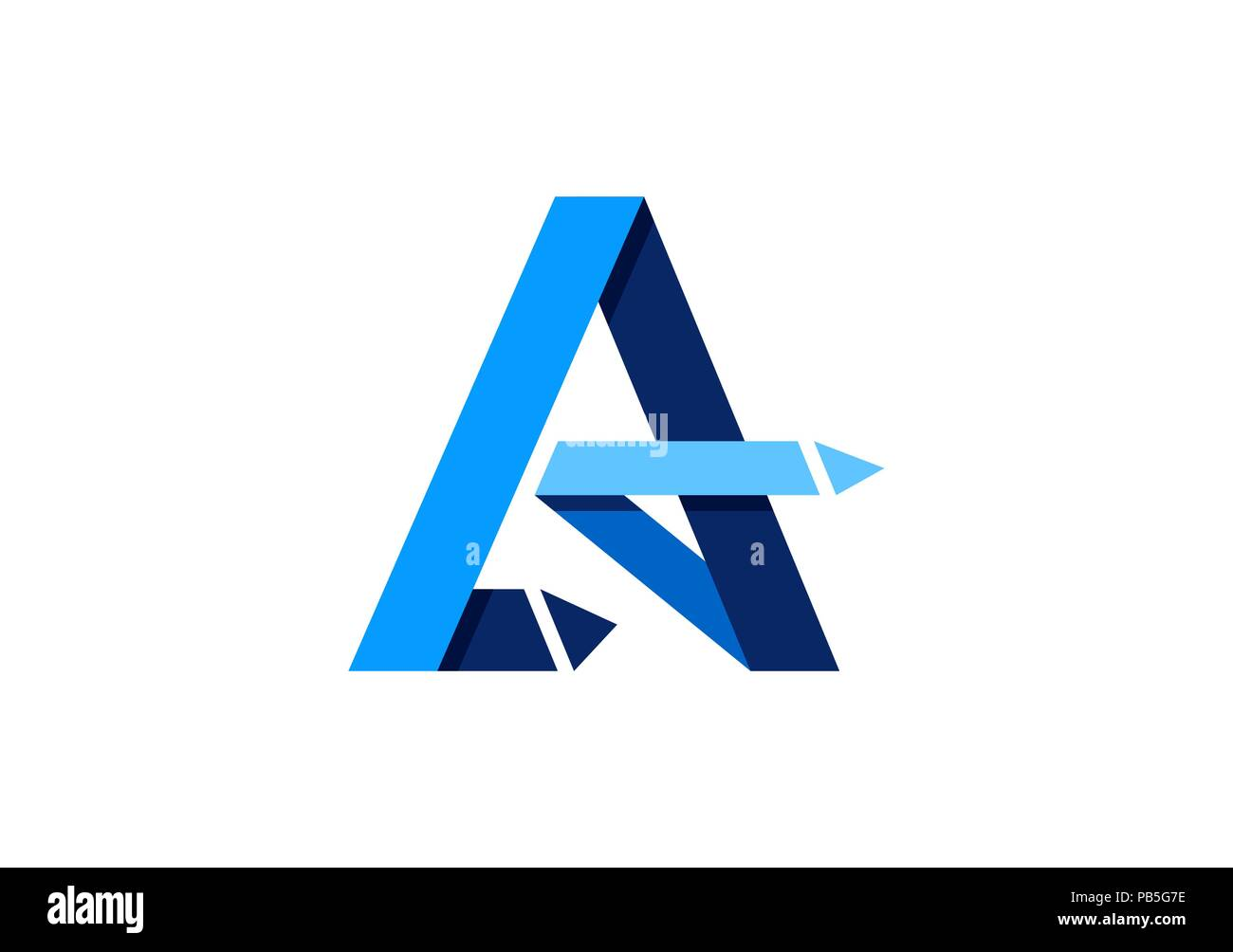 letter A logo, abstract element arrows blue letter A logo icon, business marketing element symbol vector design - Stock Image