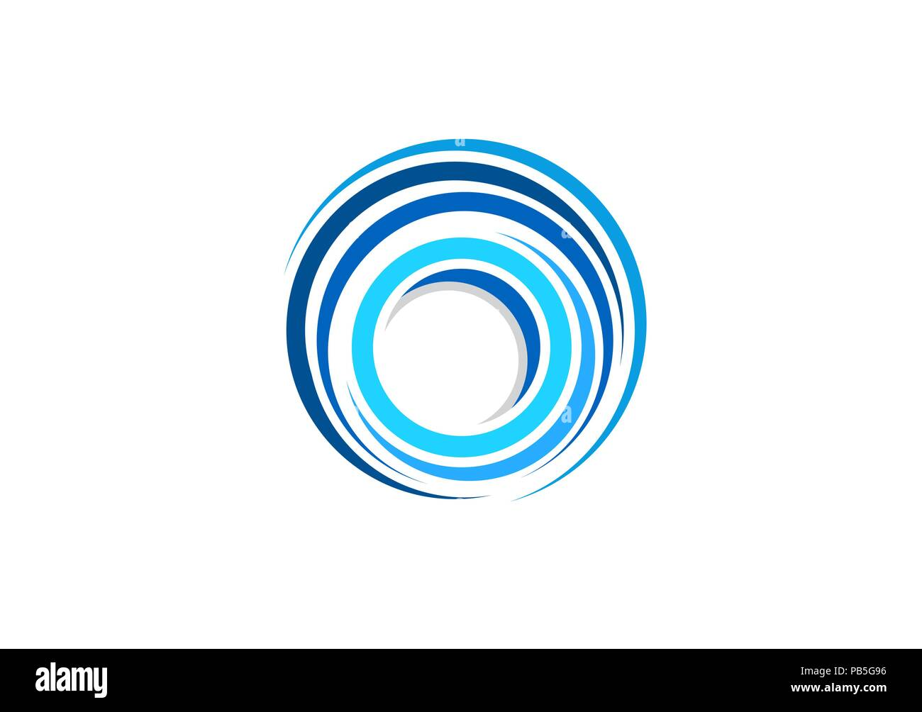 sphere circle elements swirl logo, abstract blue waves spiral round shape symbol, twist global wind sign icon vector design template - Stock Image